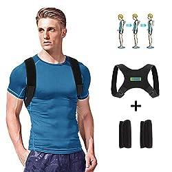 WOTEK Geradehalter zur Haltungskorrektur Rückenstütze Rückenbandage Haltungstrainer Haltungskorrektur Rücken Damen und Herren-Größenverstellbar(mit 2 Schulterpolster)