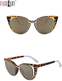 Fashlady Cat's Eye Sunglasses Women's Designer Retro Brand Pierced Female UV400 Goggles Women's Sunglasses