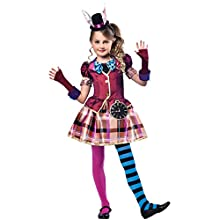 amscan 9903200 Miss Mad Hatter Costume with Gloves and Hat headband- Age 11-12 Years - 1 PC
