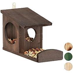 Relaxdays 10026317_746 Mangeoire pour écureuils, Distributeur de Nourriture, à accrocher, Bois, HLP: 17,5 x 14 x 25cm, Marron foncé, Brun, 5 x 12 x 25 cm