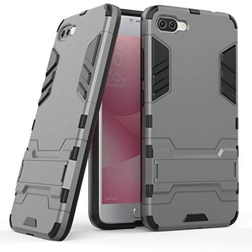 YHUISEN 2 in 1 Iron Armor Tough Style Hybrid Dual Layer Armor Defender PC + TPU Schutzhülle mit Stand Shockproof Case für Asus ZenFone 4 Max Pro (ZC554KL) ( Color : Black ) Gray