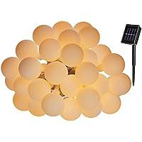 Yasolote Ghirlanda Luce LED con Energia Solare 6m Catena Luminosa Esterno 30 LED per L'albero di Natale, Patio, Terrazza e Tutte le Decorazioni (Bianco Caldo)