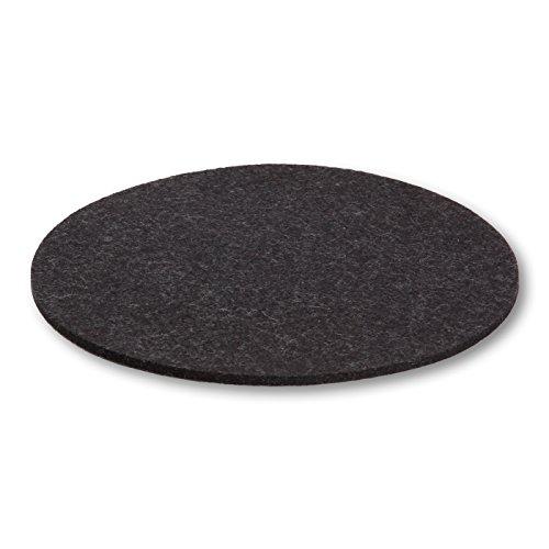 Untersetzer aus Designfilz von filzbrand, rund, 25 cm Ø, 5 mm dick, 1 Stück, graphit