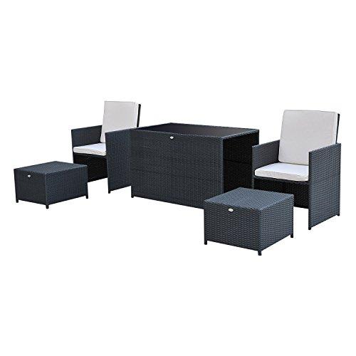 Outsunny Rattan-Möbel-Set für Garten, 5-teilige Essgruppe, Terrassenmöbel-Set, Tisch und Stühle mit Fußstützen