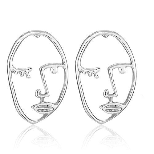Ohrringe, Gesicht mit Augen, unregelmäßig, Frauen/Mädchen, silberfarben, E1293