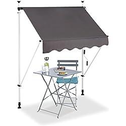 Relaxdays Store Balcon, Manivelle, Hauteur Réglable, Résistant UV, Polyester, Acier, Embouts, 150 x 120 cm, Gris
