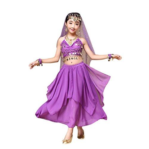 FEITONG Kinder Mädchen Bauchtanz Outfit Kostüm Indien Tanz Kleidung Top + Rock (M, Lila)