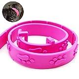 Pulga Salud y Collar Tick para Gatos Prevención Tratamiento Herbal Repelente de Gatito del Gato Larga Duración Marco de protección Control de pulgas (Rosa)