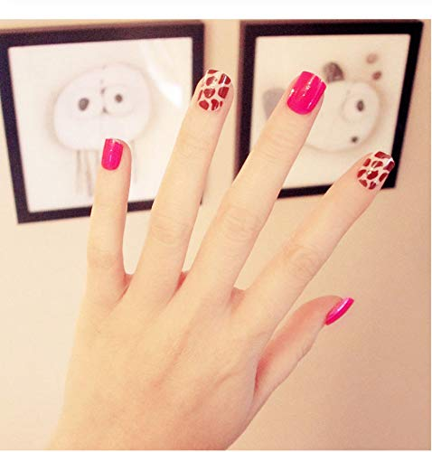 are gefälschte Nägel Leopard Spot Design Nail Art falsche Nagelspitzen wies Full Wrap Presse auf den Nägeln Rose rot set 2 ()
