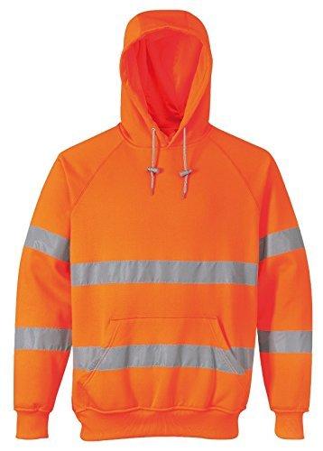 stormway Uomo hi-vis antinfortunistiche abbigliamento da lavoro VISIBILITà SICUREZZA SUL LAVORO Felpa con cappuccio maglia con cappuccio - Arancione, X-Large