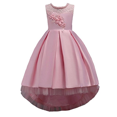 Wanshop Girl Dress, Kids Girls Lace Tulle Dress Princess Birthday Party Dress With Bowknot Birthday Party Wedding Bridesmaid Communion Dance Ball Gown Pageant Dress
