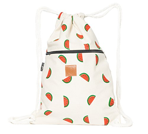 T-BAGS Thailand Baumwoll Turnbeutel Hipster - mit Reißverschluss - 24 Designs - Hochwertiger Beutel, Rucksack, Gym-Bag mit verstellbaren Kordeln (Wassermelone) -