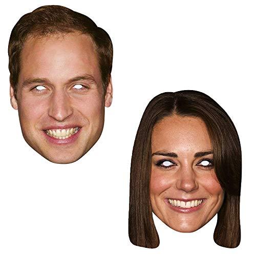 Shatchi William and Kate - Máscara para la cara de celebridad, diseño de la calle de la familia real, para fiestas, despedidas de soltera, multicolor