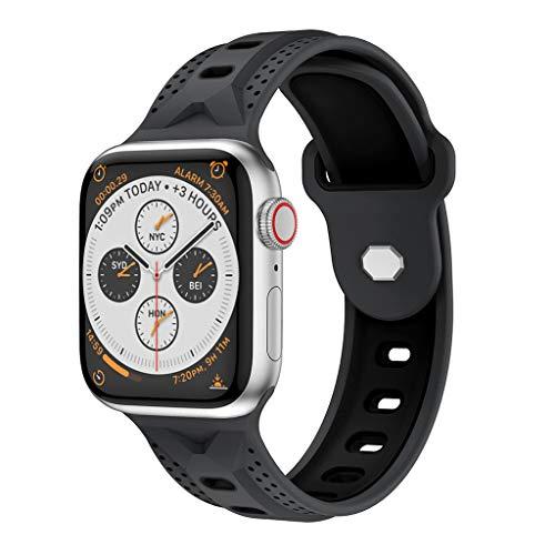 Preisvergleich Produktbild für Apple Watch Series 4 44MM Uhr Intelligent Uhr Smart Watch Ersatz Sport Zweifarbiger Weich Silikon Y-förmiger Schnalle Uhrenarmband Armband Handschlaufe Strap (Grau)