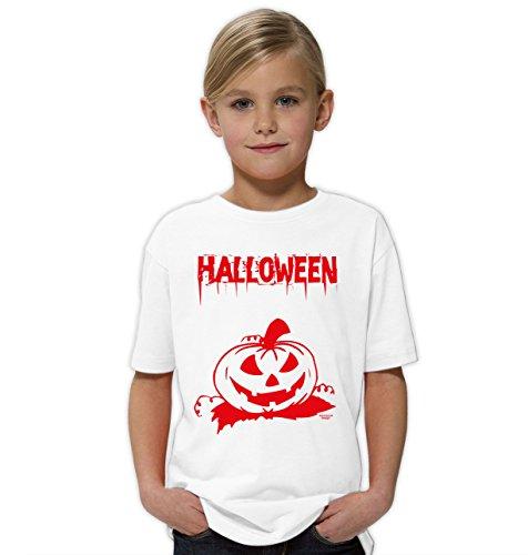 Halloween-Kostüm-Kinder-Jugend-Fun-T-Shirt Gruselig witziges Shirt für Kids Mädchen Girlie Halloween Geister Gespenster Kürbis Outfit Geschenk Idee Farbe: Weiss Gr: 110/116