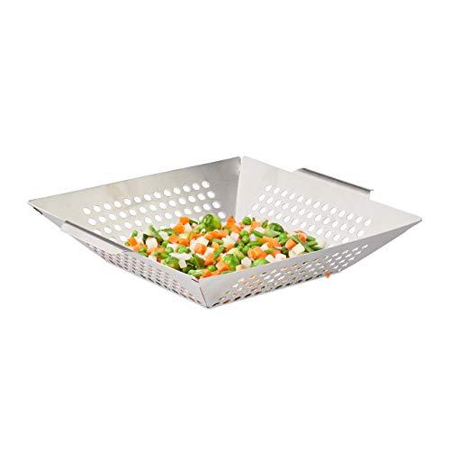Relaxdays Grillkorb Edelstahl, Gemüsekorb, eckig, rostfrei, antihaft, spülmaschinegeeignet, Größe XL: 35 x 31 cm, silber