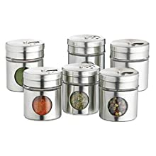 KitchenCraft Home Made Spice Jars/Herb Pots, Stainless Steel, Set of 6