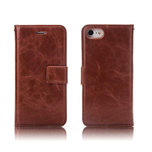 Crazy Horse Texture Flip Stand Case Porte-monnaie Housse avec housses et housse détachable pour iPhone 7 ( Color : Wine ) Brown
