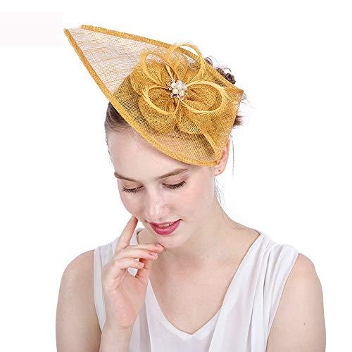 SweetStyle Zylinderhut Goldene Lady Drip Headgear Hanf Jockey Blume Haarschmuck Hut, Gold