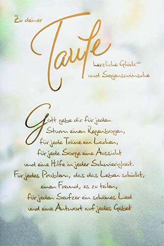 Taufekarte mit Pergament | Taufe Karte | Karte Taufe im Set | Karte in Folie | Karte ohne Innentext | DIN A6 | Klappkarte inkl. Umschlag | Motiv: Blumen
