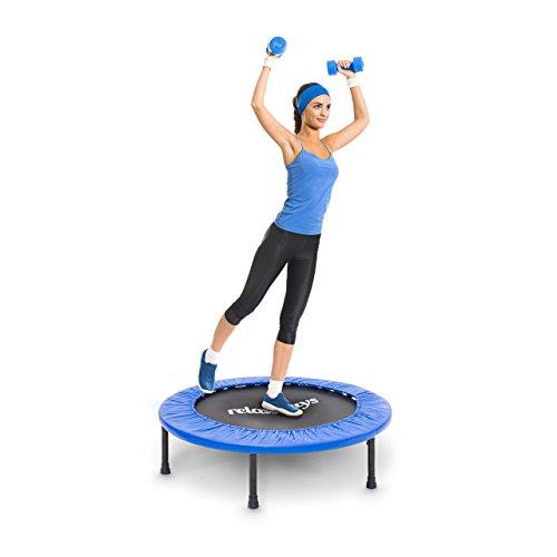 Relaxdays Fitness Trampolin, 91 cm Durchmesser, Indoortrampolin, belastbar bis 100 kg, Fitness und Ausdauertraining, blau - 2