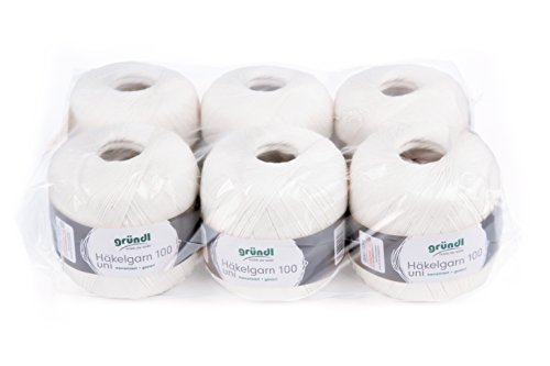 Gründl 813-101di filo 100, confezione risparmio 6matassa da 100g, cotone, bianco, 30x 21x 11cm