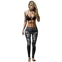 HARRYSTORE Mujer Camuflaje pantalones de yoga deportivos Mujer pantalones elásticos y ajustados Polainas para correr (S)