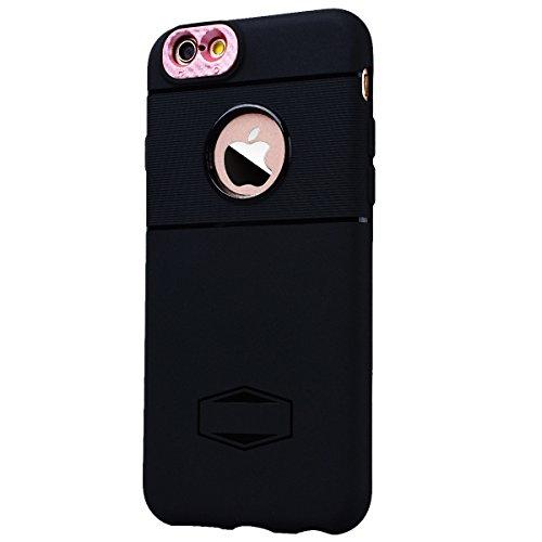 HB-Int Schutzhülle für iPhone 6 / 6S Schwarz Handytasche mit Eingebauter Magnetplatte Schwarz Kameraobjektiv Schutz Silikon Back Hülle Magnetische Auto Mount Plate Bumper Case Gold