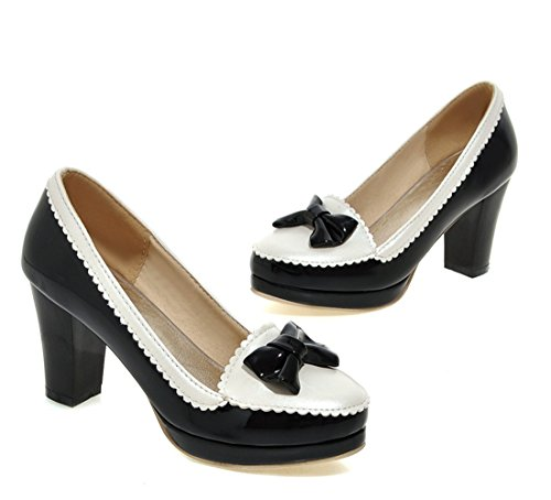 YE Damen Blockabsatz High Heels Lack Leder Plateau Runde Spitze Geschlossen Pumps mit Schleife Süße Elegant 8cm Heels Schuhe Schwarz