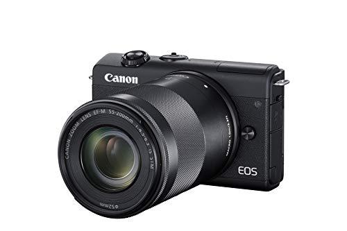 Canon EOS M200 Systemkamera (Body, 24,1 MP, 4K und Full-HD, DIGIC 8, Dual Pixel CMOS AF, Bluetooth und WLAN) Gehäuse mit Objektiven EF-M 15-45mm F3.5-6.3 IS STM + EF-M 55-200mm F4-6.3 IS STM Kit