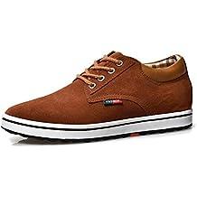 Zapatillas de Hombres de Cuero de Ante de Cuero Genuino Para Hombres Aumento de La Altura de Zapatos Para Hombre (41, Café Oscuro)