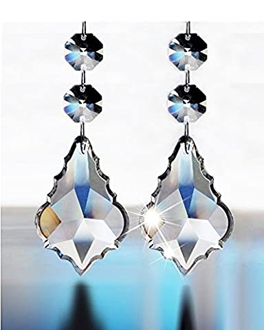 12 Pieces Shining Beautiful Clear Crystal Glass Faceted Maple Chandelier Lamp Light Pendant Beads