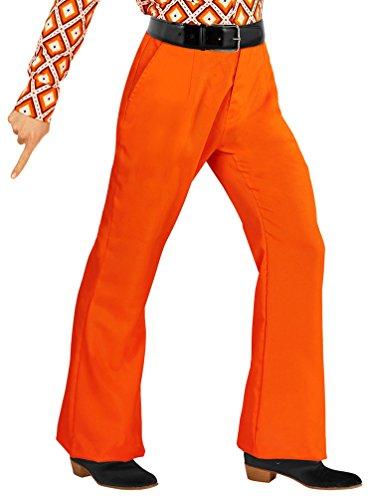 Karneval-Klamotten Hippie Hose Herren Kostüm orange Flower Power Hose Herren 70er 80er Jahre Schlaghose Karneval Größe ()