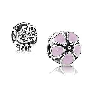 Pandora coffret cadeau-argenté-email-rose fleur de cerisier avec clip et 1 791041EN40 filigranes argent element 791190 chevets feuilles