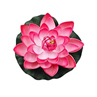 Brussels08 Large Artificial Lotus Flower Fake Floating Water Lily Fish Tank Ornament for Home Garden Patio Pond Aquarium Swimming Pool Wedding Decor Peach Red