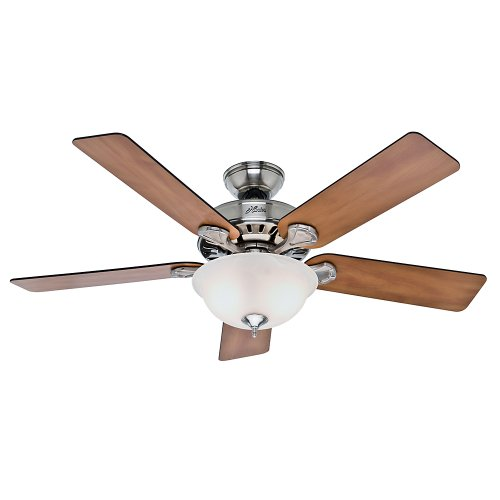 Hunter Pro 's Best Fünf Minute Fan-52 gebürstet Nickel Deckenventilator mit fünf Marone/geschwärzt Palisander Klingen und Glas Schale Light Kit, Brushed Nickel/Chestnut Rosewood, 52 67 120 volts - Hunter Deckenventilator Light Kits