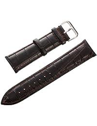 SODIAL(R) 22 mm correa para reloj de cuero real con hebilla Marron Oscuro