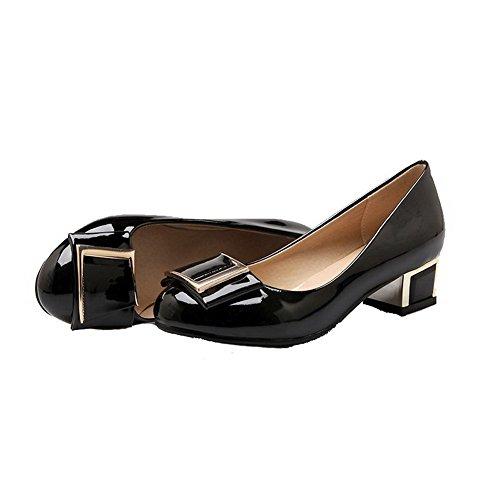 AgooLar Femme Verni Rond Tire à Talon Bas Couleur Unie Chaussures Légeres Noir