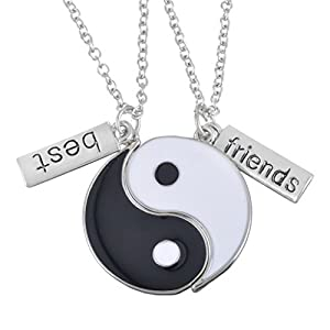 MJARTORIA Silber Farbe Yin Yang Taichi Anhänger Haslkette Freundschafskette mit Gravur Best Friends oder Forever in My Heart 50cm/60cm 2 Stück