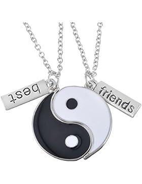 MJARTORIA Silber Farbe Yin Yang Taichi Anhänger Haslkette Freundschafskette mit Gravur Best Friends 50cm 2 Stück
