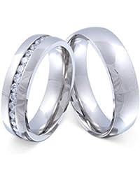 Juwelier Schönschmied - Zwei Freundschaftsringe Verlobungsringe Partnerringe Brilliant Edelstahl Zirkonia inkl. persönliche Wunschgravur Nr125HD