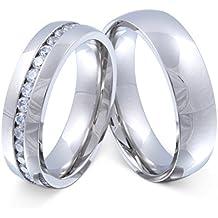 Juwelier Schönschmied - Zwei Freundschaftsringe Partnerringe Hochzeitsringe Brilliant Edelstahl Zirkonia inkl. persönliche Wunschgravur Nr125HD