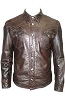 Retro Trucker style Slim Fit Infinity Hommes Casual Cuir chemise brune Jeans Jacket
