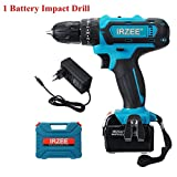 TuToy 26V Impact Drill Cordless Electric Drill 25+3 Stage Lithium Power Drills Drilling Tool - Une batterie...