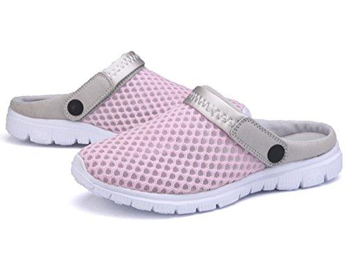 Unisex-Erwachsene Breathable Mesh Hausschuhe Sandalen Freizeit Clogs und Pantoletten Schuhe Sommer Rosa