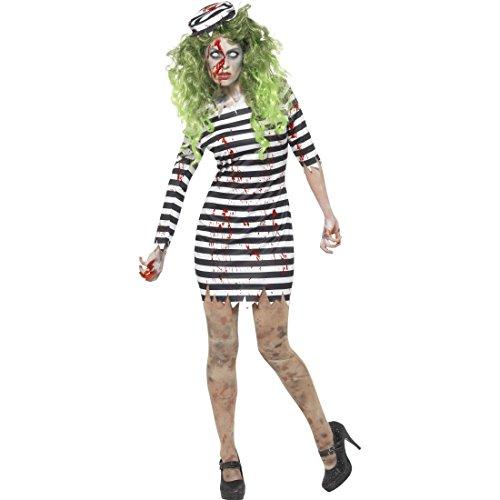 NET TOYS Halloween Kostüm Zombie Sträflingskostüm Damen XS (30/32) Sträfling Damenkostüm Häftling Verkleidung Frauen