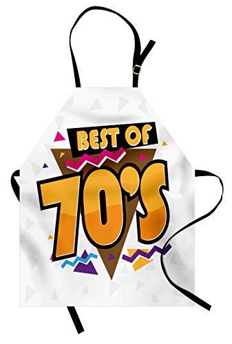 ABAKUHAUS 70er Party Kochschürze, Party Zeit 70er Jahre Musik Thema Retro Mode lebendige Joyful Dreiecke Artwork Print, Farbfest Höhenverstellbar Waschbar Klarer Digitaldruck, ()