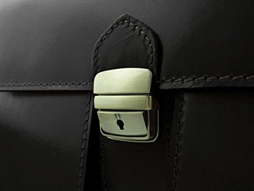 Vintage Aktenkoffer Aktentasche in diversen Farben | Echtes Leder made in Italy | Yosemite B40xH30xT13 Schwarz