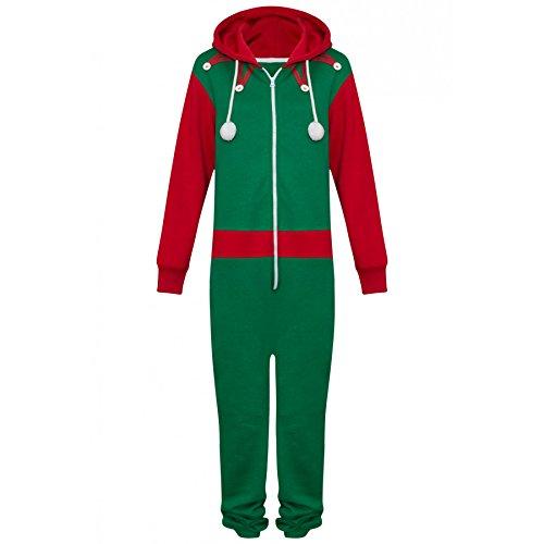 Unisex Herren Damen Elf Santa All in One Weihnachten Onesie Kostüm Overall Größen Klein bis 4XL (2XL, Elf (Kleiner Junge Minion Kostüme)