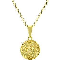 Collier avec médaille d'ange gardien - En argent sterling 925 - 40,6cm - Protection religieuse - Pour enfant